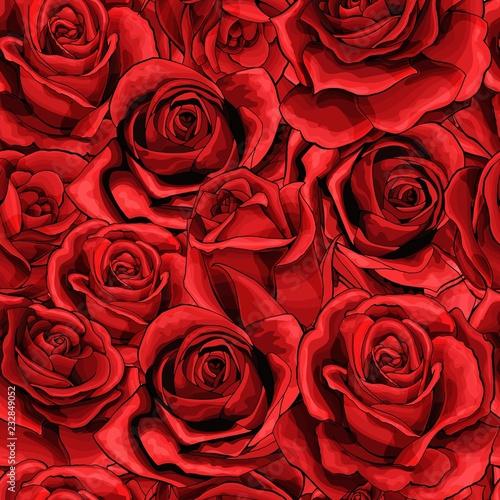Tapeta czerwona  red-rose-flower-bouquets-elements-seamless-pattern-full-filled