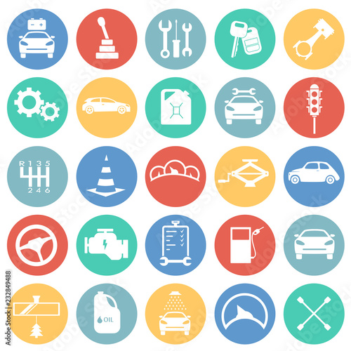 Fotografía  Car and service set on color circles background icons