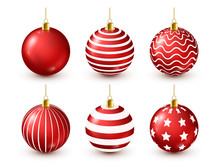 Christmas Tree Shiny Red Balls Set. New Year Decoration. Winter Season. December Holidays. Greeting Gift Card Or Banner Element.