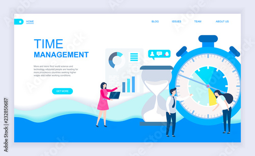 Photo  Modern flat design concept of Time Management with decorated small people character for website and mobile website development