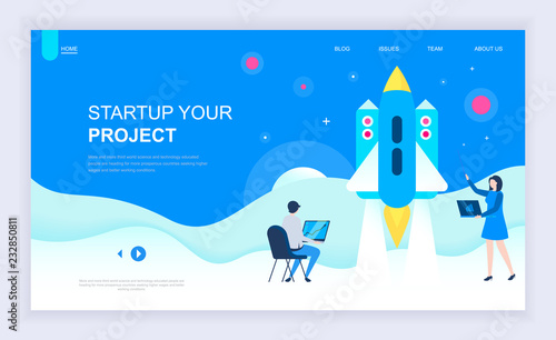 Photo  Modern flat design concept of Startup Your Project with decorated small people character for website and mobile website development