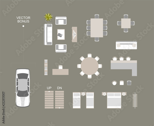 Vector furniture icons top view with bed, sofa, dining table, chairs, bar, bookshelves, hanger. Vector car top view bonus icon. These design elements may be used for house plan top view illustration.
