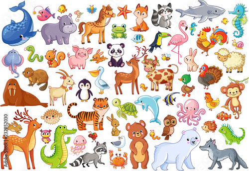 Vector set of animals. Home favorites. Mammals.