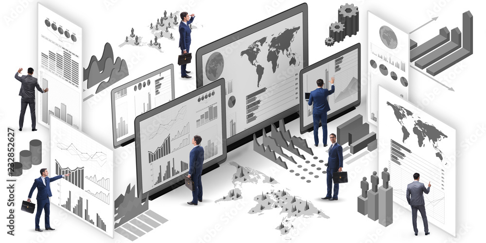 Fototapety, obrazy: Businessman in business visualization and infographics concept