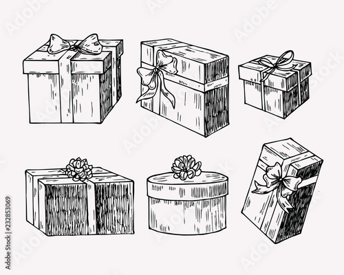 Hand drawn vintage illustration of present box, gift package with a bow and ribbon Fototapeta