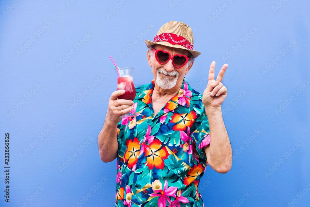 Fototapeta Eccentric senior man portrait