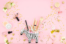 Cosmetics For Make-up In Zebra...