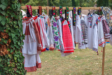 Old Traditional Romanian Folk Costumes With Embroidery