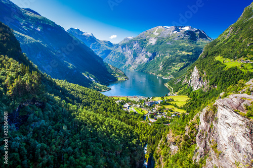 Recess Fitting Northern Europe View of Geirangerfjord in Norway, Europe.