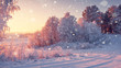 Wonderful winter morning landscape in sunrise with falling snowflakes.