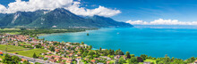 Panorama View Of Montreux City With Swiss Alps, Lake Geneva And Vineyard On Lavaux Region, Canton Vaud, Switzerland, Europe