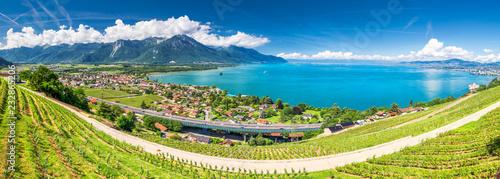 Poster Blauw Panorama view of Montreux city with Swiss Alps, lake Geneva and vineyard on Lavaux region, Canton Vaud, Switzerland, Europe