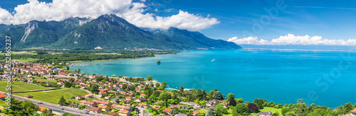 Photo sur Toile Lac / Etang Panorama view of Montreux city with Swiss Alps, lake Geneva and vineyard on Lavaux region, Canton Vaud, Switzerland, Europe