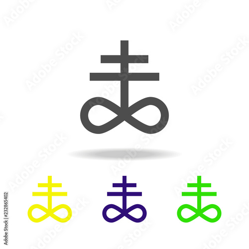 Photo  Satanism Leviathan cross sign multicolored icon