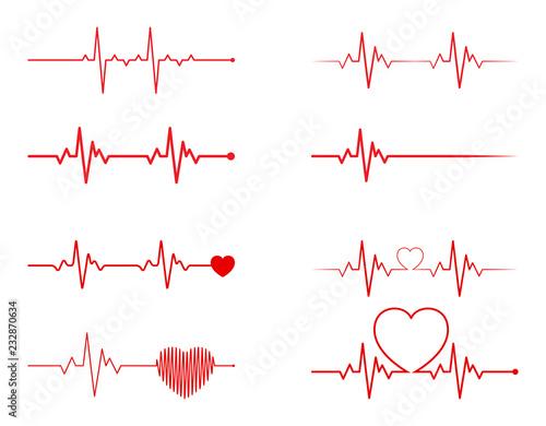 Cuadros en Lienzo  heart rhythm set, Electrocardiogram, ECG - EKG signal, Heart Beat pulse line con