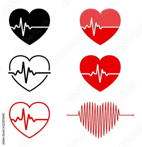 Photo heart and  ECG - EKG signal set, Heart Beat pulse line concept design isolated o