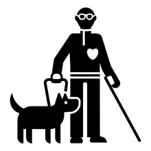 Invalid Person With Dog Icon. Simple Illustration Of Invalid Person With Dog Vector Icon For Web Design Isolated On White Background