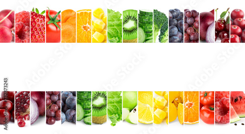 Collage of mixed fruits and vegetables © seralex