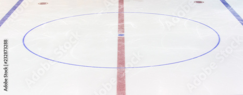 Photo  Fragment of ice hockey rink with a central circle