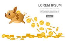 Golden Flying Piggy Bank Drop Golden Coins. Money Rain. Saving Money Concept, Bank Economy. Flat Vector Illustration On White Background. Website Page And Mobile App Design