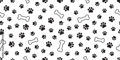 fototapeta na ścianę dog paw seamless pattern vector french bulldog dog bone tile background scarf isolated wallpaper repeat