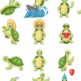 Fototapeta Fototapety na ścianę do pokoju dziecięcego - Collection of turtles cartoons characters. Little turtles do different things. Flat vector illustration on white background