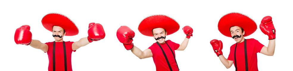 Fototapeta Funny mexican with boxer gloves isolated on the white