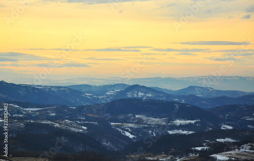 Keuken foto achterwand Zwavel geel aerial view of mountains