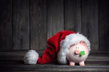 Vintage Piggy Bank With Santa ...