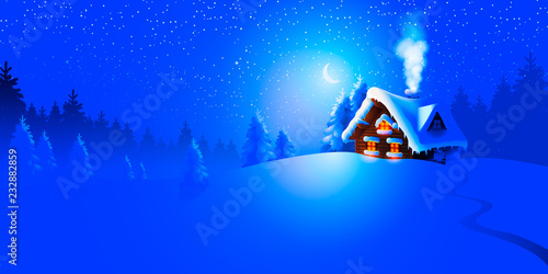 Spoed Foto op Canvas Donkerblauw Forest landscape with winter house. Vector Illustration