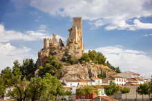 A View Of The Suburb Of Almansa City And Ruins Of The Ancient Castle, Province Of Albacete, Spain