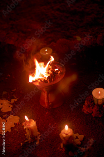 Fotografija  dead of the day censer with fire at night