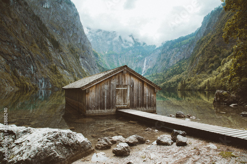 Old boat house at Lake Obersee, Bavaria, Germany Fototapete