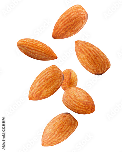 7456485 Falling almond isolated on white background, clipping path, full depth o Canvas Print