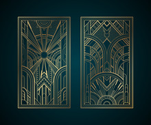 Gold Art Deco Panels On Dark T...