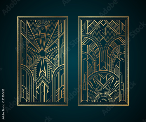 Gold art deco panels on dark turquoise background