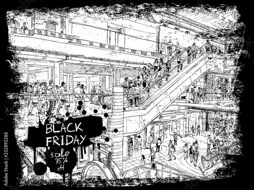 Fotobehang Art Studio Black Friday Sale shopping scape discounts advert banner of black Friday sale. Hand drawing of the people shop in the mall or giant store. Flyer with paint splashes and ink stain. Vector.
