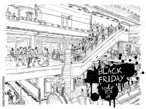 Fotobehang Art Studio Black Friday sale discount banner. Hand drawing of people shopping in the large mall or giant store. Flyer with paint splashes and ink stain. Crowd of shoppers hurry to buy. Vector.
