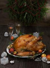 Fototapeta Roasted Christmas Turkey with Grab Apples