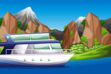Boat On Lake Scene