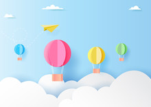 Colorful Hot Air Balloons On Blue Sky Paper Art Style