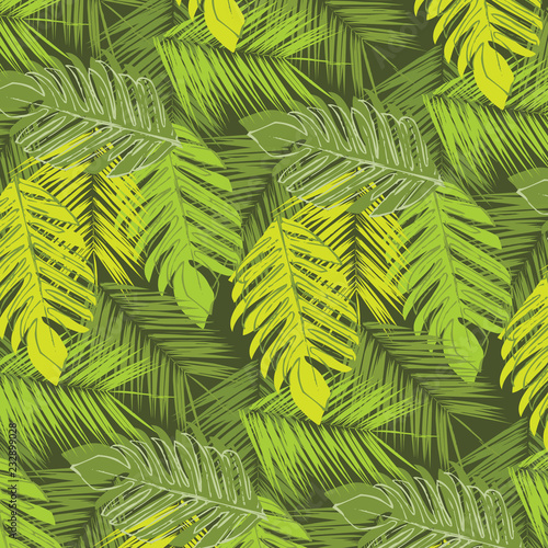 Ingelijste posters Tropische Bladeren Tropical palm leaves, jungle leaves vector floral pattern background. Leaves texture pattern.Watercolor floral background.