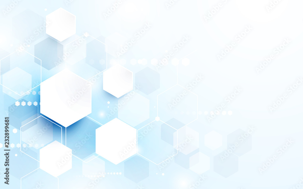 Fototapeta Abstract technology digital hi tech hexagons concept background. Space for your text