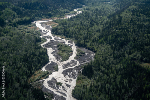 Recess Fitting Forest river Aerial view of the braided Kennicott River near McCarthy Alaska