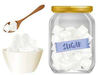 Cube sugar on white background