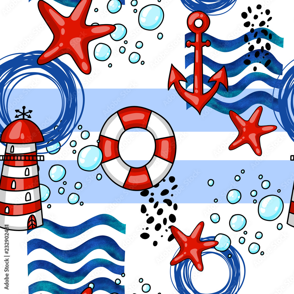 Hand drawn cartoon Marine seamless pattern with anchors lifebuoys lighthouse and starfish.
