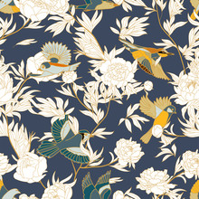 Seamless Pattern With Birds And Peony