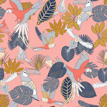 Tropical Pattern With Birds, P...