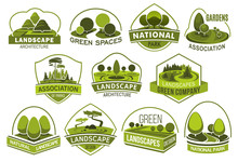 Landscape, Park And Garden Design Vector Icons