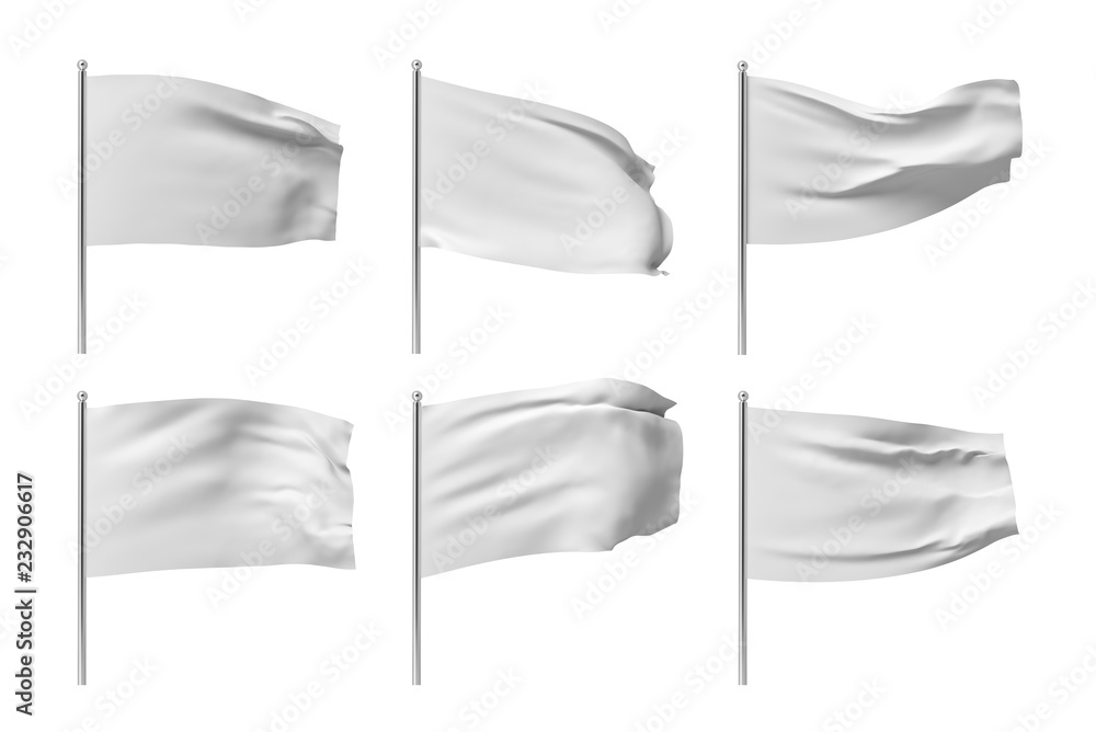 Fototapety, obrazy: 3d rendering of six white flags hanging on posts and wavering on a white background.